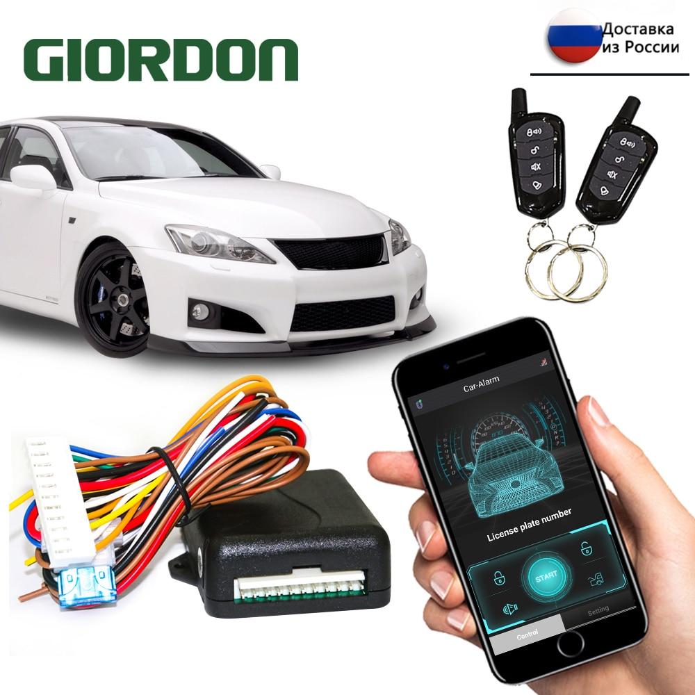 Универсальная автомобильная сигнализация GIORDON, дверной замок без ключа, с удаленным автомобильным сигнальным устройством