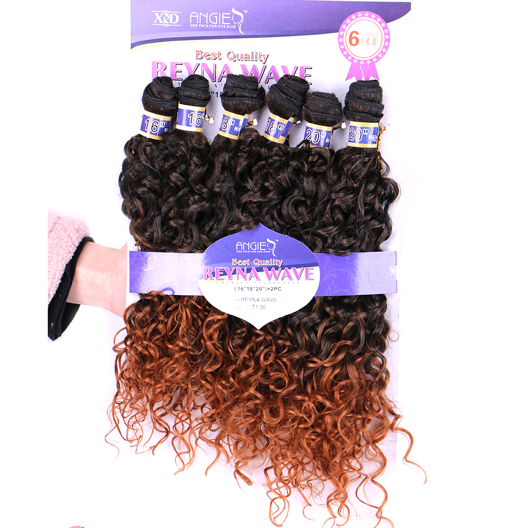 Reyna Water Wave Hair Bundle 6 Pieces One Set High Temperature Synthetic Hair Extensions Brazilian Weaving for Black Women