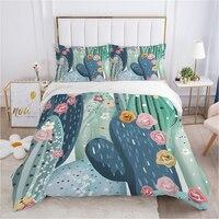 Set biancheria da letto nordico set copripiumino federa 50x75 biancheria da letto copriletto 220x240 140x200 150*200 cactus blu