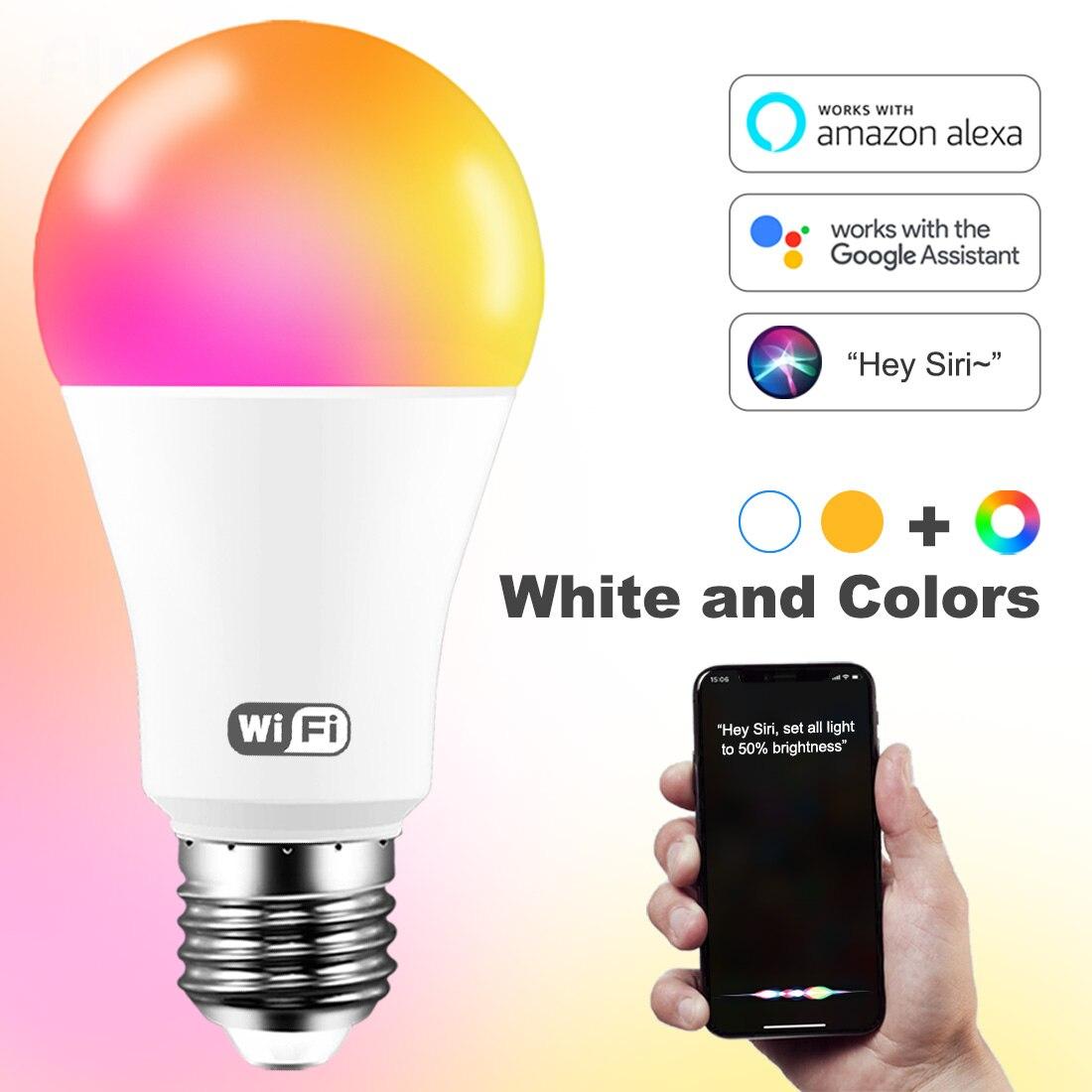 Умсветильник Светодиодная лампа E27 B22, неоновая цветная лампа с голосовым управлением, дистанционным управлением через приложение Alexa Google ...