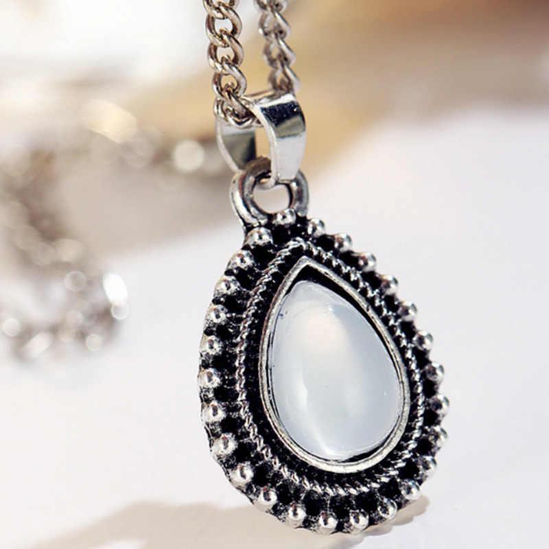 2019 Nova vintage cor prata pedra gota pingente Gargantilha Colar Mulheres Declaração de colar de jóias da menina das mulheres Presente Da Jóia 4ND315