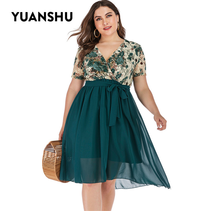 YUANSHU Fashion Floral Lace Chiffon Plus Size Summer Dress Women Sashes Ruffle Party Dress 3XL 4XL 5XL Large Size Dresses image