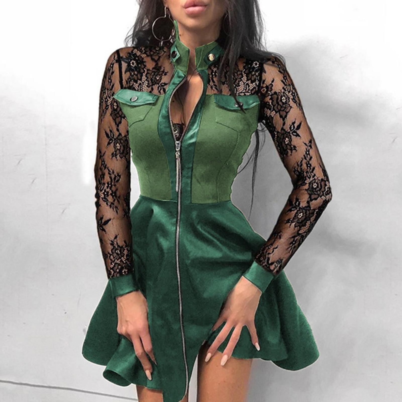 vestido de mujer Women Mesh Lace Patchwork Zipper Design Leather Dress Ladies Dress femme robe