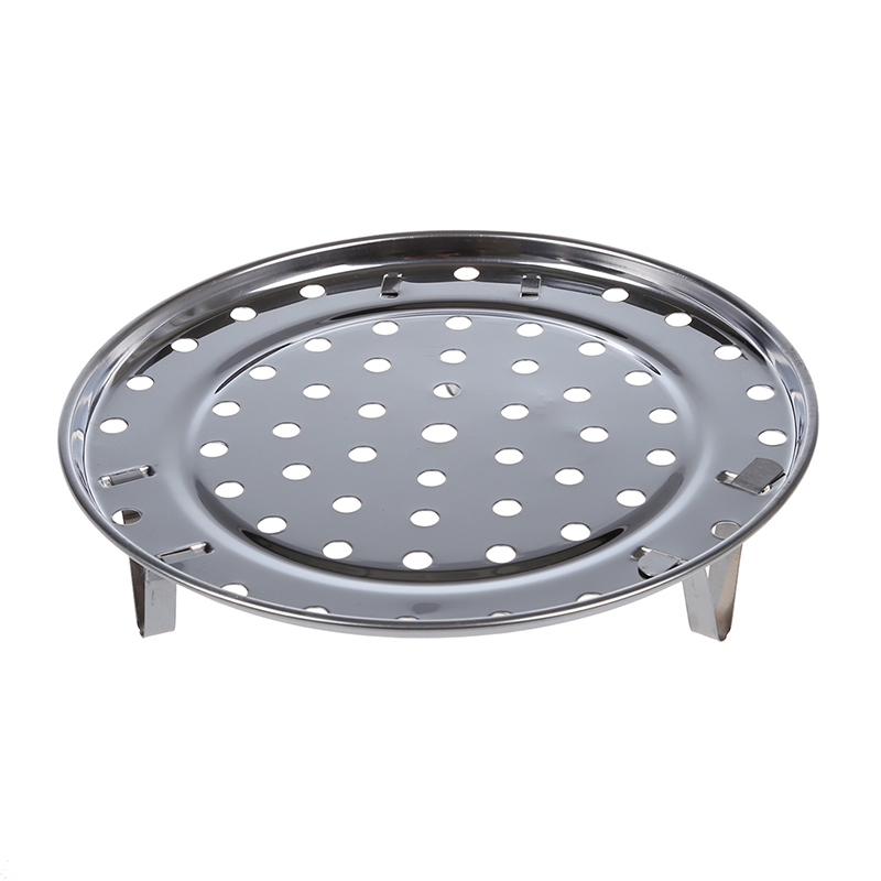 SHGO HOT-Silver Tone Stainless Steaming Rack Tray W Stand For Cooker