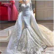 מלא תחרה חתונה שמלת 2 ב 1 סגנון בת ים כלה שמלה עם נתיקה רכבת