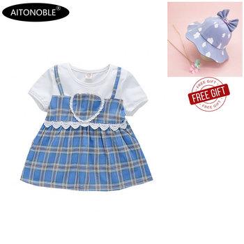 Aitono com 2020 nowa wiosna lato dziewczynek płaszcz pół rękawa bawełniana sukienka dziecięca bluzy dzieci princeska tanie i dobre opinie Pasuje prawda na wymiar weź swój normalny rozmiar COTTON ADDL010