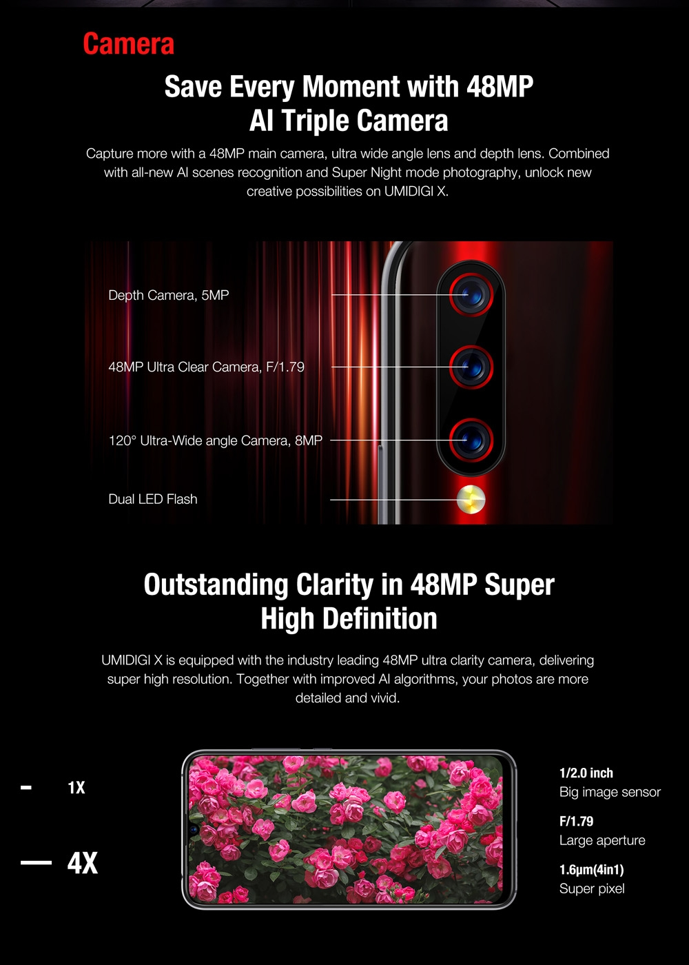 """Image 3 - UMIDIGI X Smartphone Android 9.0 4GB RAM 128GB ROM 6.35"""" AMOLED Helio P60 Global Version Dual 4G 48MP Triple Back Cams 4150mAh-in Cellphones from Cellphones & Telecommunications"""
