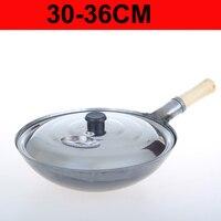 Ferro wok tradicional feito à mão ferro wok pan antiaderente panelas de gás de revestimento 30 cm 32 cm 34 cm 36 cm|Woks|   -
