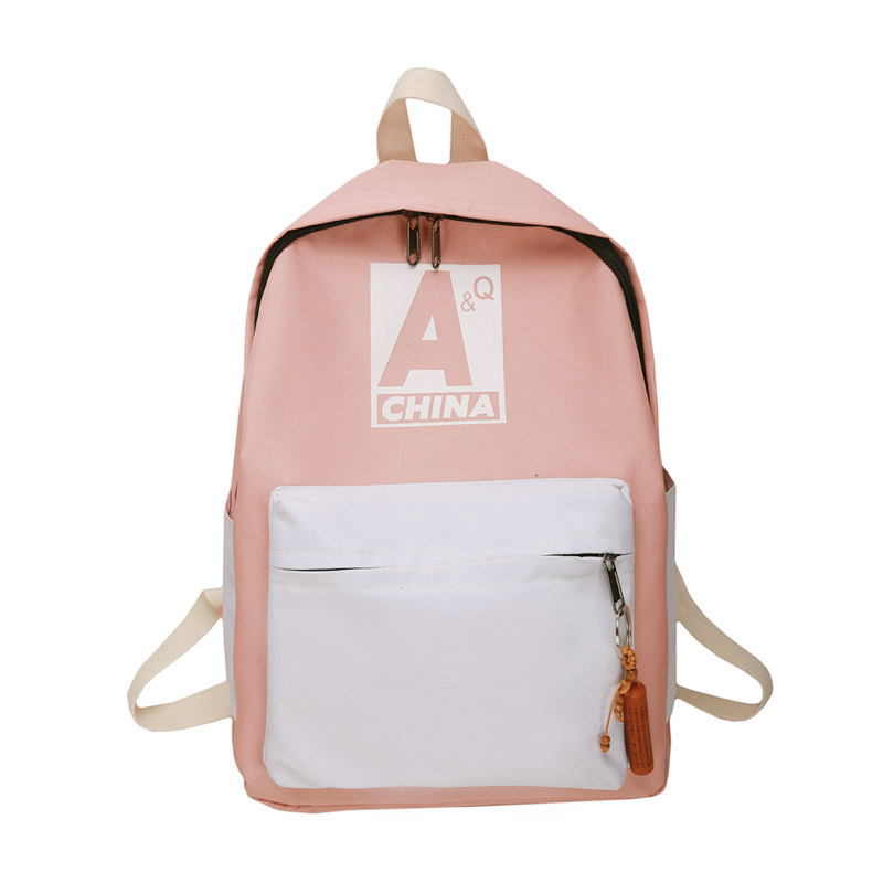 High-capacity College Style Junior High School Girl Schoolbag Fashion Wild Cute Backpack Female Ulzzang Backpack Hit Color