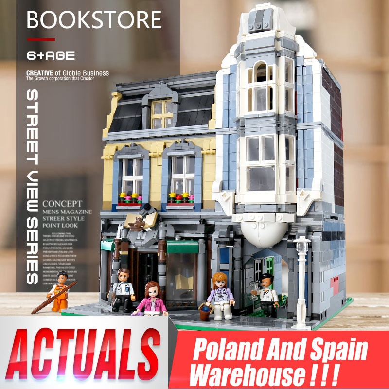 The European Street View Series Bookstore Model Set Building Block Bricks Kids Toys Gifts Fit Lepinblocks <font><b>10270</b></font> Christmas Gift image
