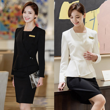 The new high-end medical beauty and plastic surgery front desk cashier wear professional suit cosmetologist work clothes