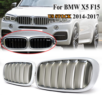 MagicKit 1 Pair F15 F85 X5 F16 F86 X6 Silver Chrome Kidney Hood Car Front Grill for BMW Xdrive Vehicle Front Bumper 14 17 Grille