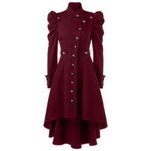 women's jacket Vintage Steampunk Long Coat Gothic Overcoat Ladies Retro Jacket coats ladies Plus Size solid Slim Outerwear 828