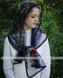 Image 4 - 2020 שנהב כחול שחור קתולי צעיף ירושלים המוסלמי אלגנטי גבירותיי פרח תחרה צעיף צעיף מטפחות כנסיית כלה חתונת רעלה