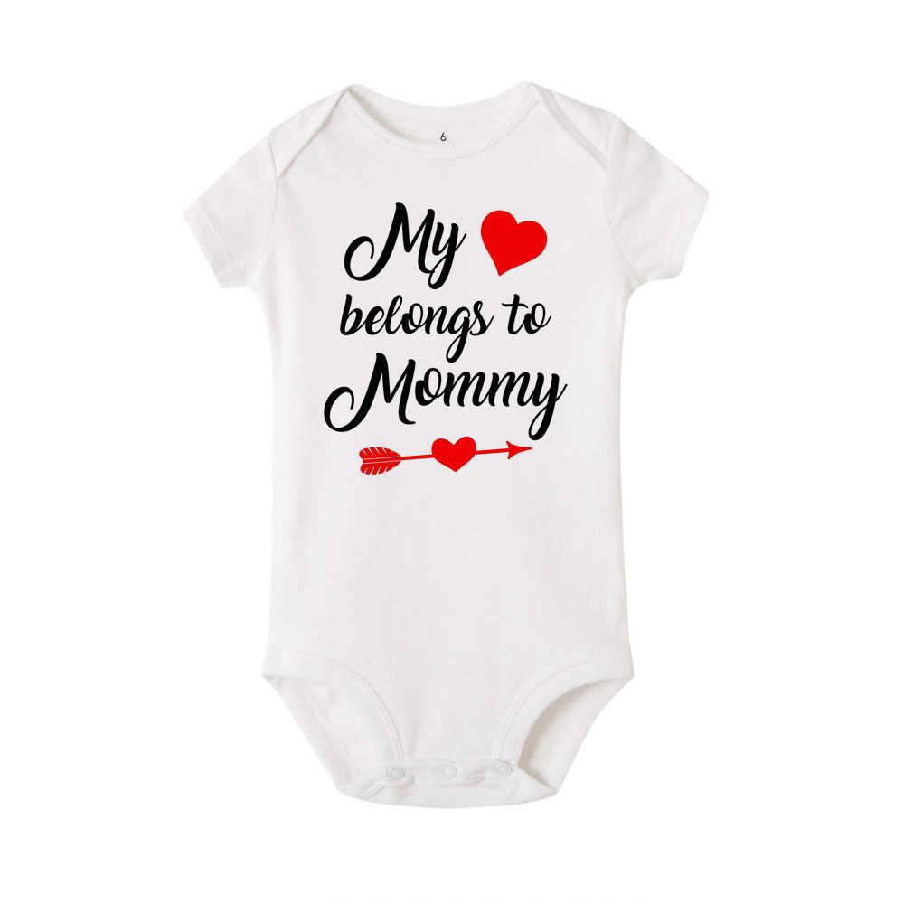 ความร้อนของฉันเป็นของแม่/Daddy วันวาเลนไทน์เด็กชายหญิงสั้นแขนเด็กแรกเกิด Babe Onesie 0 -24M เสื้อผ้า