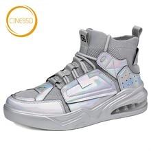 CINESSD/Переливающаяся обувь для скейтбординга; спортивная обувь для ходьбы с высоким берцем; ботильоны на шнуровке; дышащие кроссовки на плоской подошве для мужчин