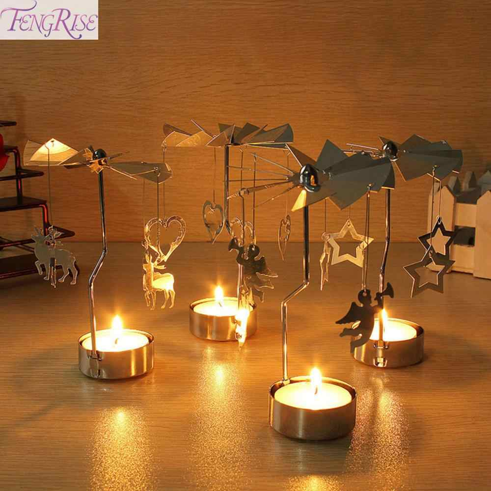 FENGRISE Metal Candlestick Merry Christmas Table Decor For Home Rotating Elk Angel Christmas Ornament 2019 Navidad Xmas Craft