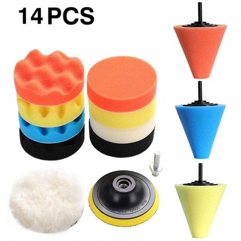 14pcs Car Polishing Kit Buffing Pad 1/3''/6mm Wheel Polishing Cone Car Body Wheels Body Wheel Care Tools Car Cleaning Tools J19