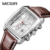 MEGIR Men Watches Leather Strap Square Watch Sport Clock Casual Business Luminous Watches Retro Wristwatch for Male Boys 2028