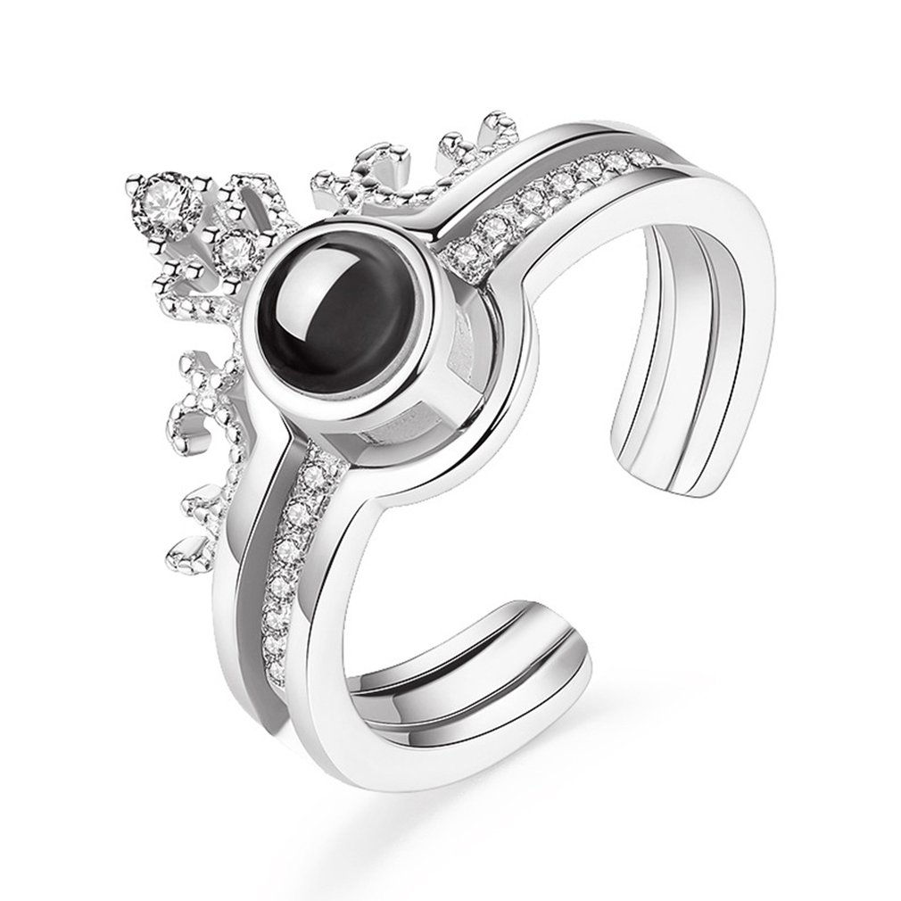 FT-Ring Fashion Rose Gold Plated Finger Ring For Women Luxury Black Jewelry Wedding Rings