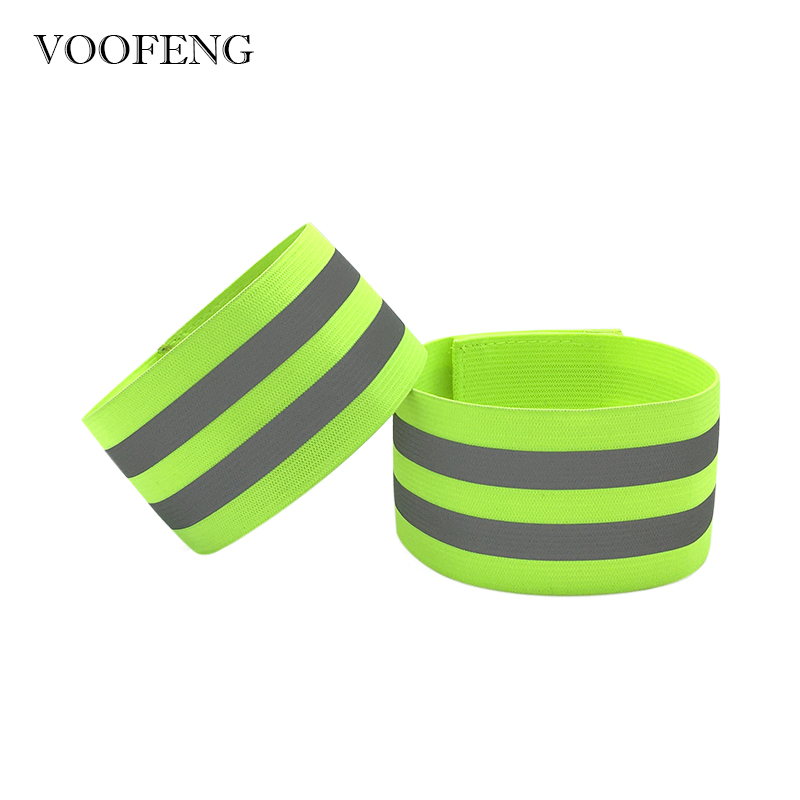 2pcs Reflective Elastic Armband Wristband Leg Strap Safety Reflector For Night Outdoor Sports Running Cycling 33*5cm