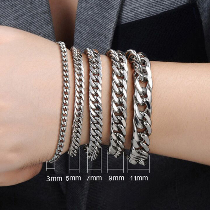 PUNK SILVER COLOR CURB CHAIN BRACELET FASHION MEN'S STAINLESS STEEL BANGLE BRACELETS 3MM 5MM 7MM 9MM 11MM 2