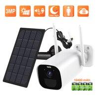 Techage 3.0MP Batería WiFi Cámara IP 10400mAh Panel solar recargable Cámara de seguridad inalámbrica Al aire libre Impermeable Color noche