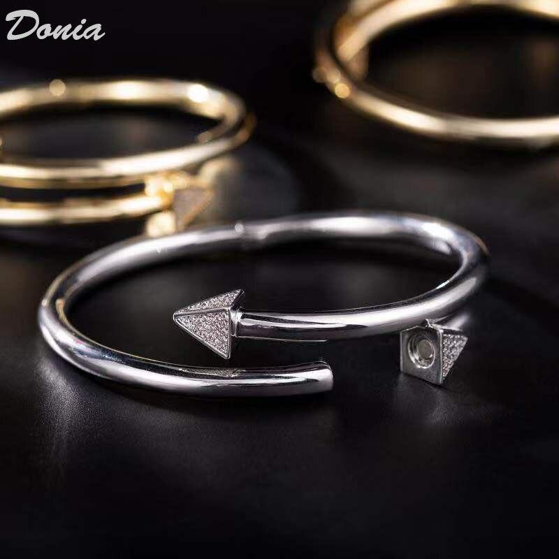 Image 4 - Ювелирные изделия donia Европейская и американская мода новый  женский браслет из розового золота AAA циркон браслет Модный Открытый  браслетЮвелирные наборы
