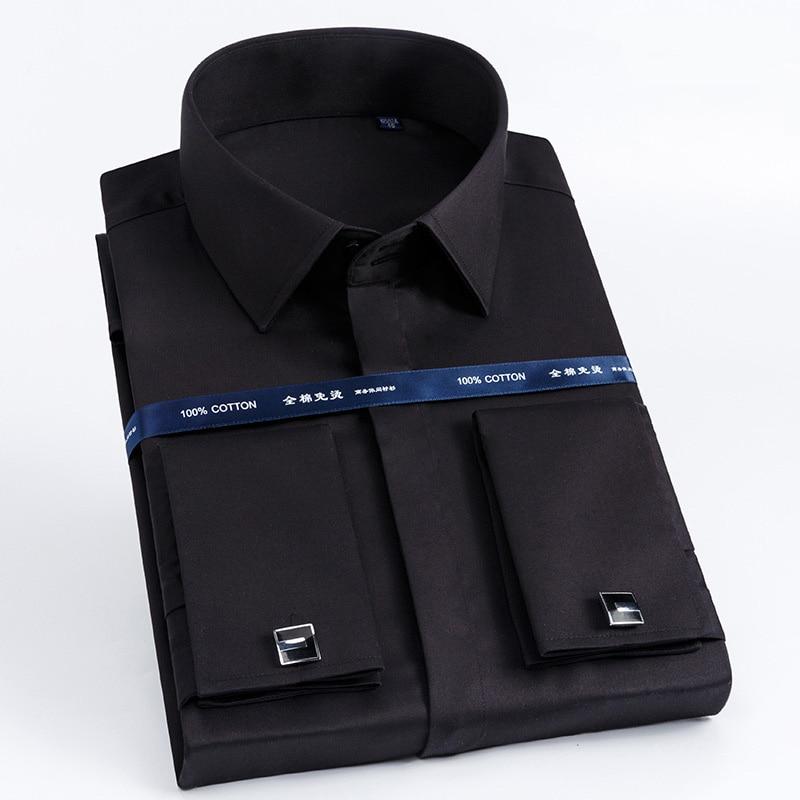 Image 2 - High Quality Men French Cufflinks Shirt Slim Fit Cotton Shirt Men  Long Sleeve Business Suits Wedding Party Free Lroning ShirtsDress  Shirts