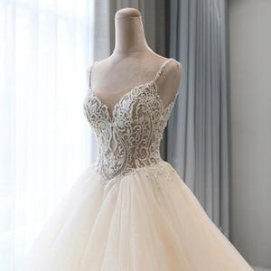 Image 4 - מבריק חרוזים קריסטל גוף נסיכת חתונה שמלות אונליין Vestido Noiva כתף רצועות ללא משענת כלה אשליה