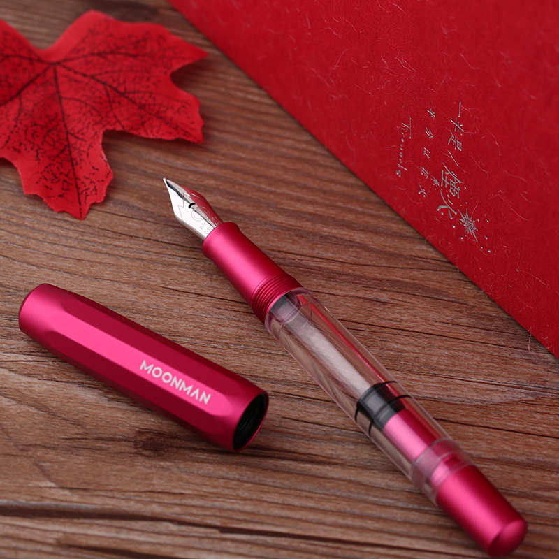 New Moonman T1 Acrylic Red & Metal Piston Fountain Pen Aluminum Alloy Fine Nib 0.5mm Large-Capacity Ink Pen for Business Office