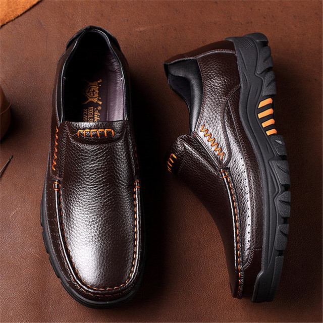 Men's Genuine Leather High Grip Shoes 10