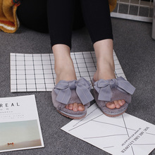 Women Bow House Slippers  Winter Indoor Woman Slip On Flats Slides 2020 Fashion Female Faux Fur
