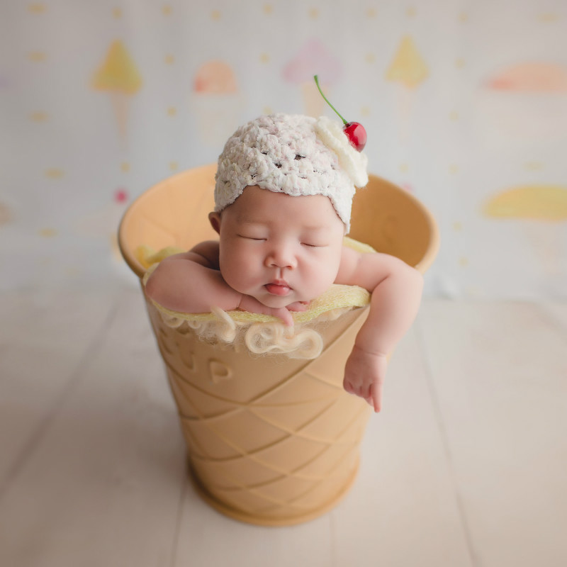 Baby Photography Props Posing Props Ice Cream Cone Type Infant Shoot Containers Big Creative Props Baby Sweet Theme New Style