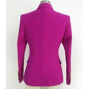 Image 3 - Yüksek sokak 2020 yeni tasarımcı Blazer kadın kruvaze aslan düğmeler Slim fit muhteşem mor Blazer ceket