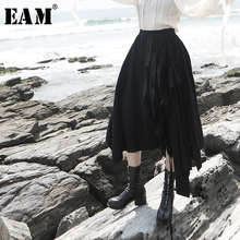 [EAM] High Elastic Waist Black Ruffles Asymmetrical Double Layer Half-body Skirt Women Fashion Tide New Spring Autumn 2019 1D834