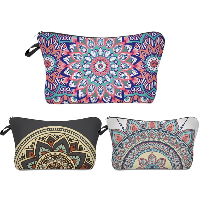 Roomy Cosmetic Bag,3 Piece Set Waterproof Travel Toiletry Pouch Makeup With Zipper (Mandala Flowers)