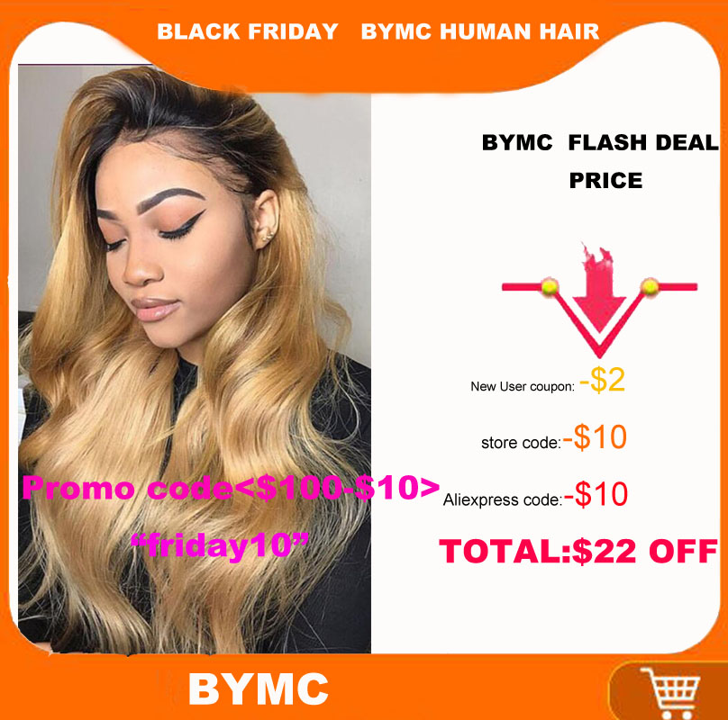 BYMC Body Wave Ombre Blonde Human Hair Full Lace Wigs Brazilian Remy Glueless Wig Preplucked With Baby Hair