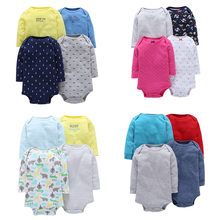4PCS/Lot Spring Autumn 6-24Month Baby Boy Clothing Long Sleeve Cotton Cartoon Bear Bodysuit Newborn Infant Girl Jumpsuit