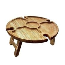 Portable Round Wooden Outdoor Folding Picnic Table Glass Holder Garden