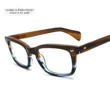 클래식 안경 프레임 아세테이트 남성 처방 안경 레트로 근시 안경 패치 워크 디자이너 광학 프레임 안경 617g