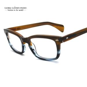 Image 1 - Classic Eyeglasses Frames Acetate Men Prescription Glasses Retro Myopia Glasses Patchwork Designer Optical Frames Eyewear 617g