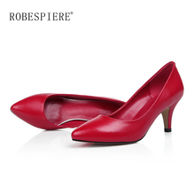 цена на ROBESPIERE New Shallow Pointed Toe Women's Pumps Quality Genuine Leather Spike Heels Shoes Office Party Wedding Lady Pumps A33