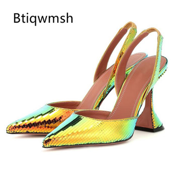 2019 Bling Bling Design Slingback Sandals Woman Pointed Toe Strange High Heel Shoes Woman Sexy Party Shoes босоножки женские