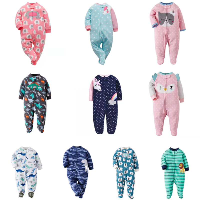 NEWBORN BABY GIRL JUMPSUIT Cartoon Unicorn Winter Clothes Long Sleeve Footies New Born Boy Sleep Pajamas 0-12 Month Costume