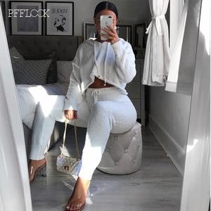 Image 4 - PFFLOOK 2019 Autumun נשים 2 חתיכה סט חורף תלבושות אלגנטי מוצק סוודר סטים תואמים Streetwear מזדמן צמר שתי חתיכה להגדיר