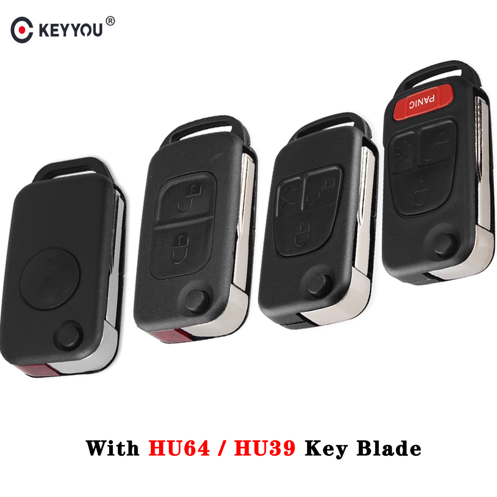 KEYYOU 1/2/3/4 Button Flip Folding Car Remote <font><b>Key</b></font> shell for <font><b>Mercedes</b></font> Benz SLK E113 A C E S W168 W124 W202 <font><b>W203</b></font> Auto <font><b>Key</b></font> Case image