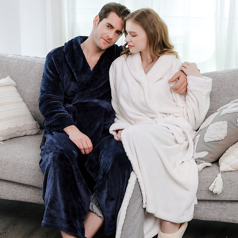2019 New Male Winter Extra Long Warm Flannel Kimono Bath Robe Mens Thermal Dressing Gown Women Home Peignoir Negligee
