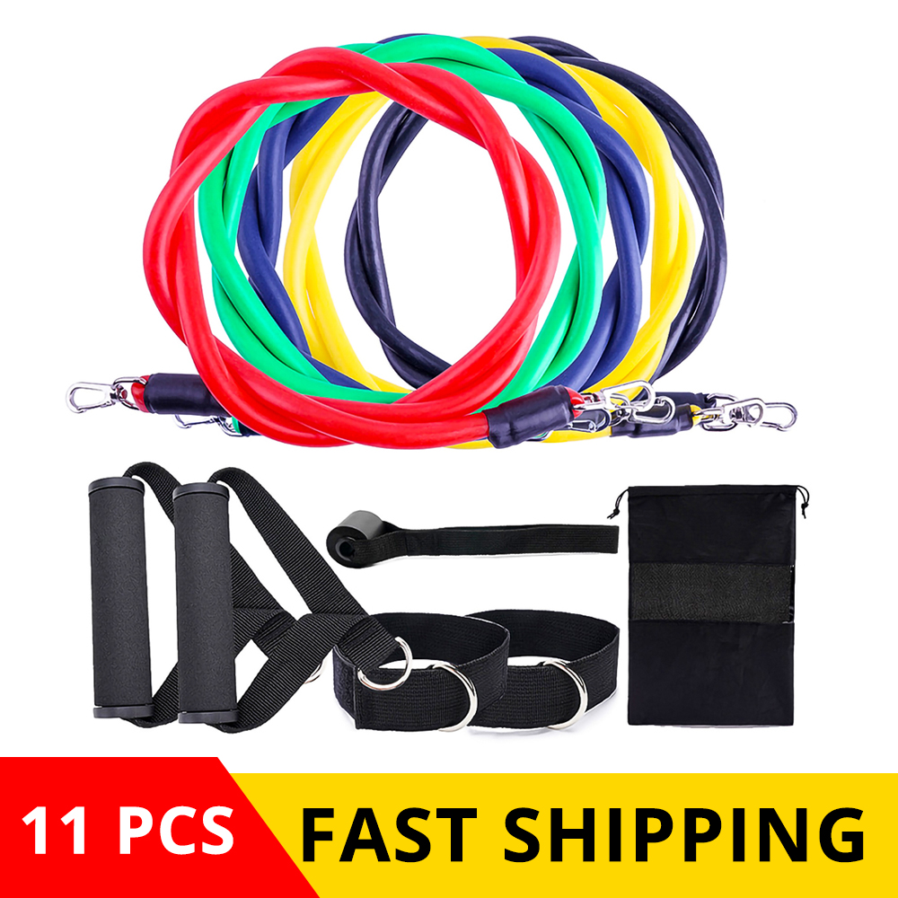 11Pcs Resistance Bands Set Exercise Fitness Band Expander 100 Pound Tpe Home Gym Workout Elastic Gym Fitness Exercise