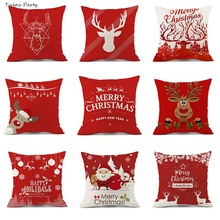 Twins 45*45cm  Merry Christmas Pillow Case Snowman Reindeer Snow Cushion Cover, Cotton Linen Sofa Bed Throw Cover Decor